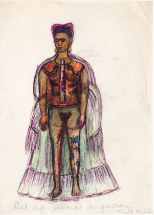 Frida Kahlo (Mexican, 1907–1954). Appearances Can Be Deceiving, n.d. Charcoal and colored pencil on paper, 11 ¼ x 8 in. (29 x 20.8 cm). Collection of Museo Frida Kahlo. © 2019 Banco de México Diego Rivera Frida Kahlo Museums Trust, Mexico, D.F. / Artists Rights Society (ARS), New York