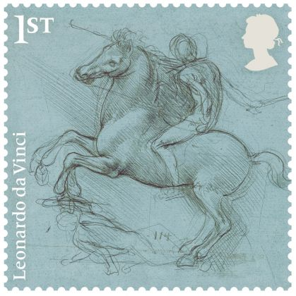 A design for an equestrian monument, c.1485–88 Silverpoint on blue prepared paper, Leeds Art Gallery. Courtesy Royal Mail