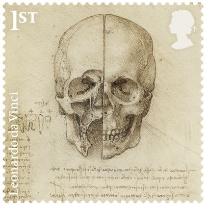 The skull sectioned, 1489 Pen and ink, Ulster Museum, Belfast. Courtesy Royal Mail