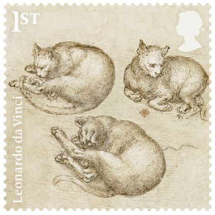 Studies of cats, c.1517–18 Pen and ink, Bristol Museum and Art Gallery. Courtesy Royal Mail