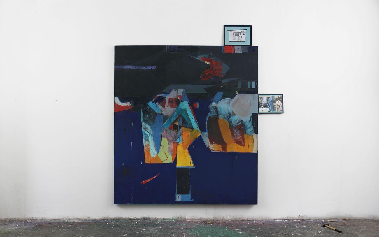Marco Bongiorni, Blu Tile, 2016, olio su tela, grafite, stampa ink jet, vetro, nastro telato. Photo credit © Romer