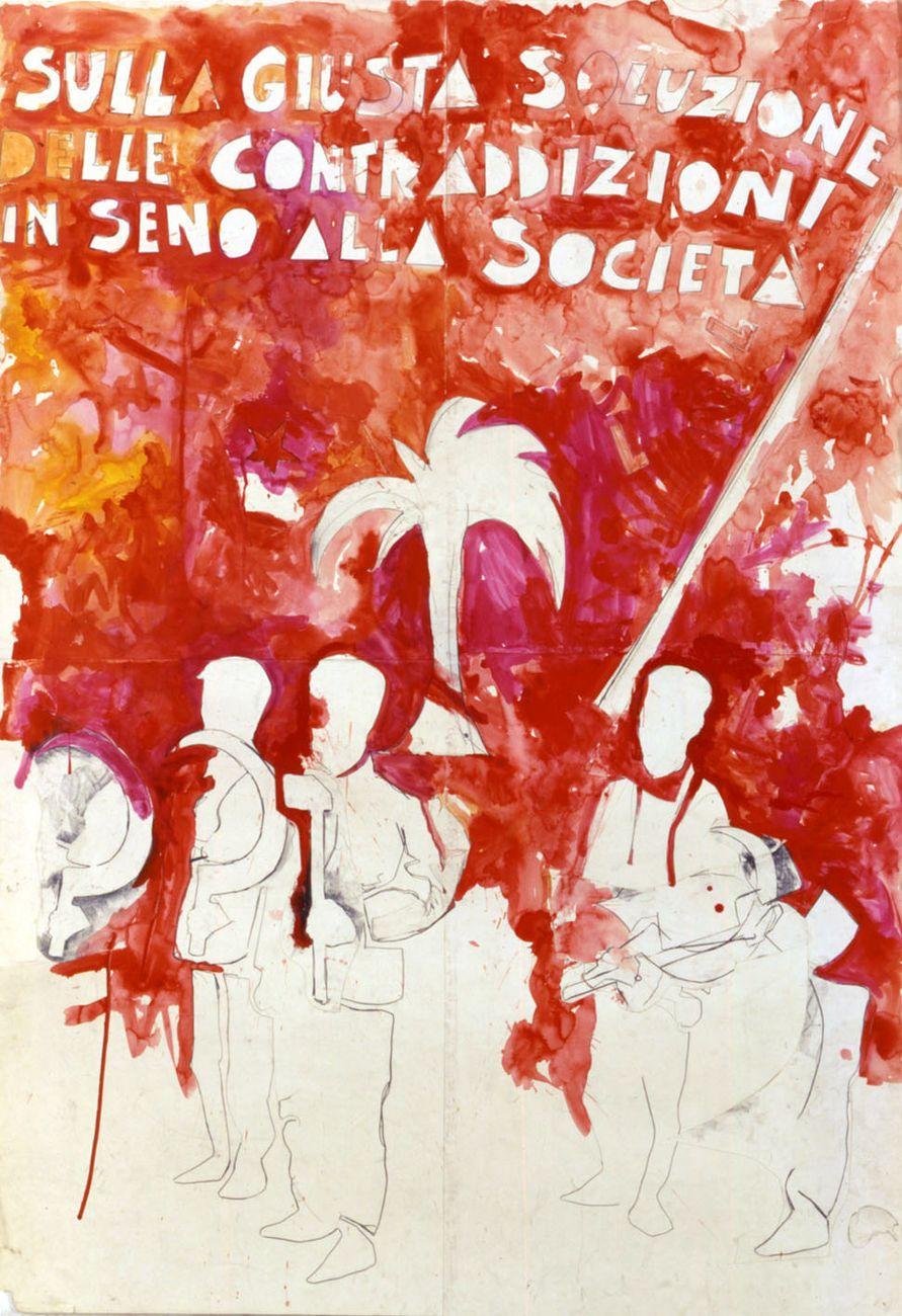 Mario Schifano, Sulla giusta soluzione delle contraddizioni in seno alla società, 1968. Collezione privata. Courtesy Fondazione Marconi, Milano © Mario Schifano by SIAE 2018