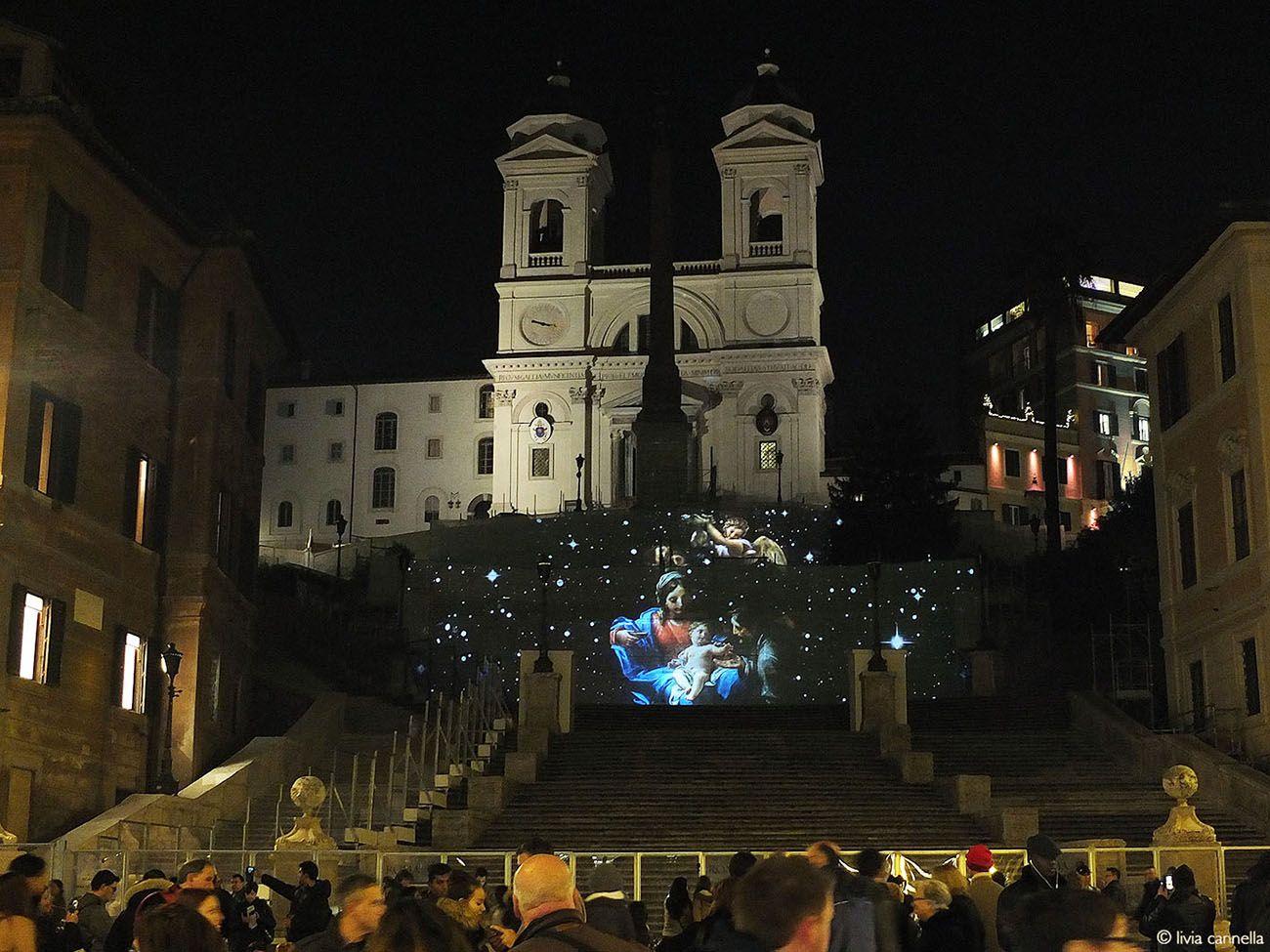 Natale in Giubilo. Scalinata di Trinità dei Monti, Roma 2015-16. Ideazione, progetto e realizzazione di Livia Cannella