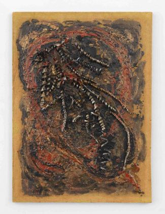 Carol Rama,Bricolage 1964 Oil, lacquer, beads, and metal shavings on Masonite 27 x 20 inches (69 x 51 cm) © Archivio Carol Rama, Torino Photo: Elisabeth Bernstein Courtesy Lévy Gorvy