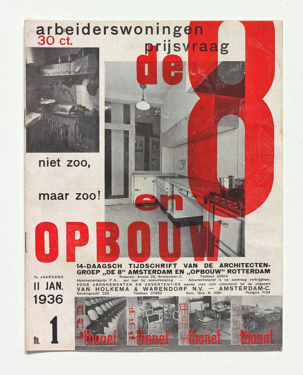 Un numero della rivista De 8 en Opbouw, 11 gennaio 1936. Collezione privata, Olanda