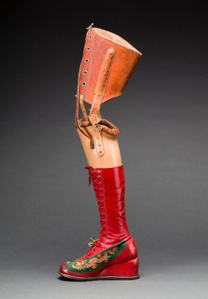 Prosthetic leg with leather boot. Museo Frida Kahlo. © Diego Rivera and Frida Kahlo Archives, Banco de México, Fiduciary of the Trust of the Diego Rivera and Frida Kahlo Museums. (Photo: Javier Hinojosa, courtesy of V&A Publishing)