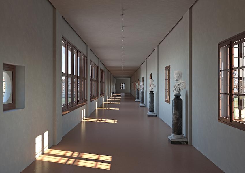 Rendering Corridoio Vasariano - Courtesy Gallerie degli Uffizi
