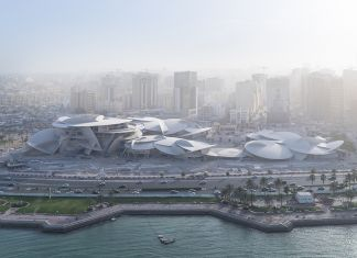 Arial view of the upcoming National Museum of Qatar designed by Ateliers Jean Nouvel (photo credit: Iwan Baan)