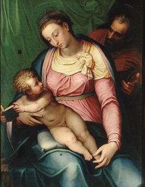 Marcello Venusti, Sacra Famiglia, olio su tavola, prima del 1566. Roma, Galleria Borghese