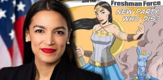 Alexandria Ocasio Cortez con il fumetto Alexandria Ocasio Cortez and the Freshman Force (Devil's Due Comics, 2019)
