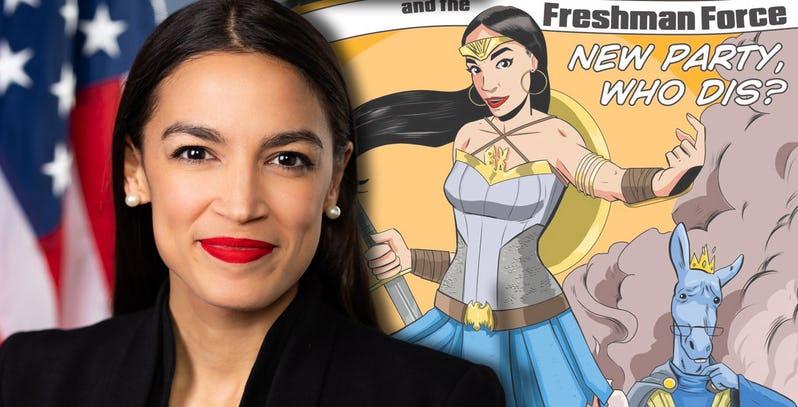 Alexandria Ocasio Cortez con il fumetto Alexandria Ocasio Cortez and the Freshman Force (Devil's Due Comics, 2019)