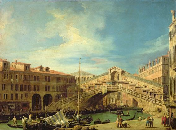 Antonio Canal detto Canaletto, Il Ponte di Rialto, olio su rame, cm 45,5 x 62,5. Wells-Next-The-Sea, Holkham Hall