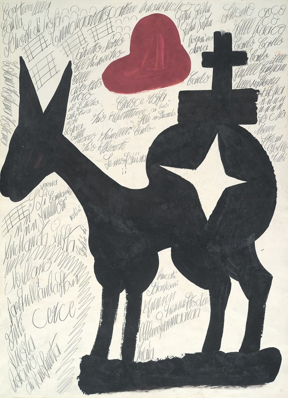Carlo Zinelli, Grande cavallo stellato con cappello da alpino rosso (lato B), 1967. Collezione Fondazione Cariverona. Photo Stefano Saccomani