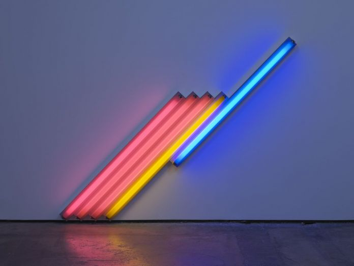 Dan Flavin, Untitled (for Frederika and Ian) 3, 1987 © 2018 Estate of Dan Flavin _ Artists Rights Society (ARS), New York. Courtesy David Zwirner & Cardi Gallery