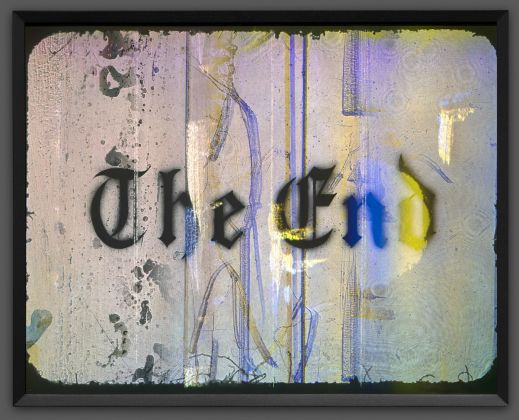 Ed Ruscha, The End, 2017, editioned hologram. © Ed Ruscha, courtesy the J. Paul Getty Museum, Los Angeles, Gift of AMPC LLC through the auspices of Guy and Nora Barron.