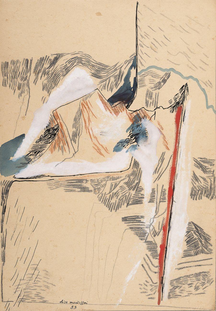 Elisa Montessori, Calura d'agosto, 1983, grafite e acquarello su carta da spolvero, 23,5 x 34,3 cm. Courtesy l'artista & Monitor, Roma Lisbona