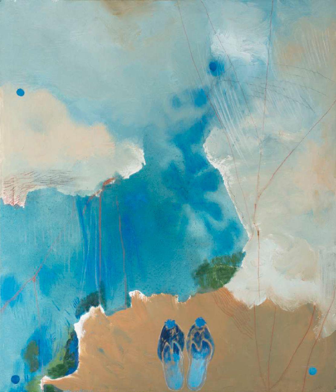 Elisa Montessori, Le pantofole di Paribanu (dalle Mille e una Notte), 2000, olio su tela, 120 x 140 cm. Courtesy l'artista & Monitor, Roma Lisbona