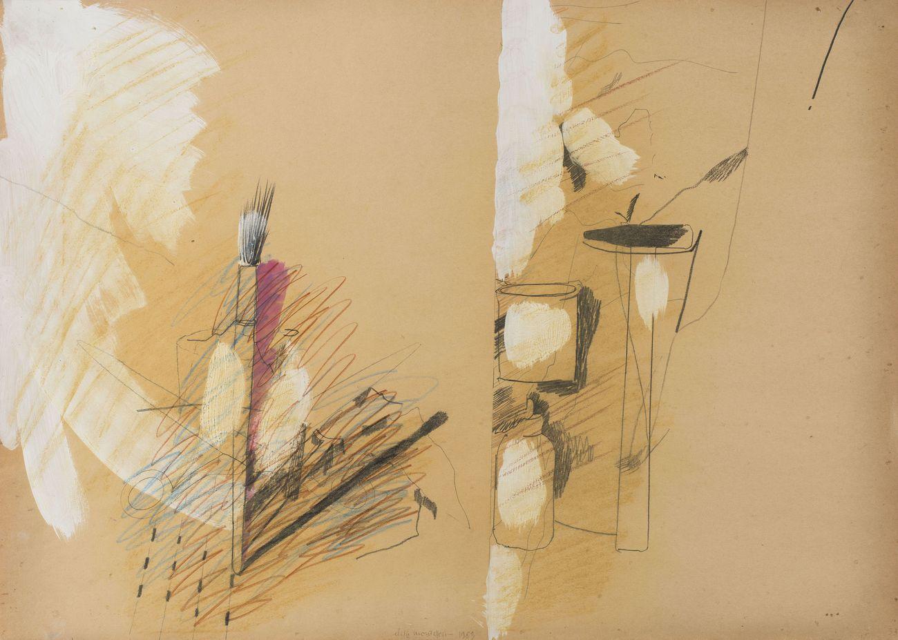 Elisa Montessori, Natura morta con pennello, 1983, grafite, pastelli su carta da spolvero, 50 x 70 cm. Courtesy l'artista & Monitor, Roma Lisbona