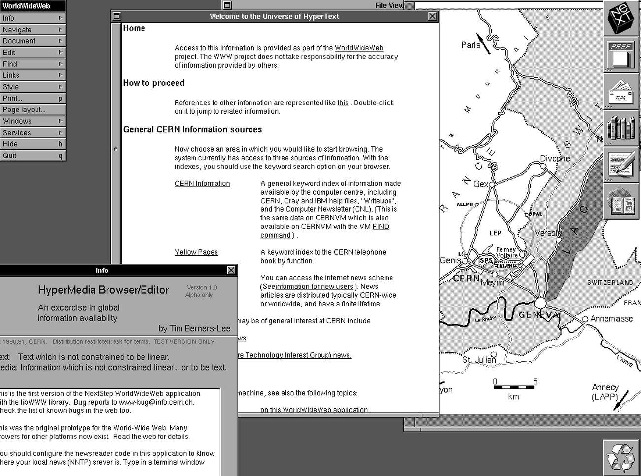 Il Web nel 1990. Image courtesy CERN