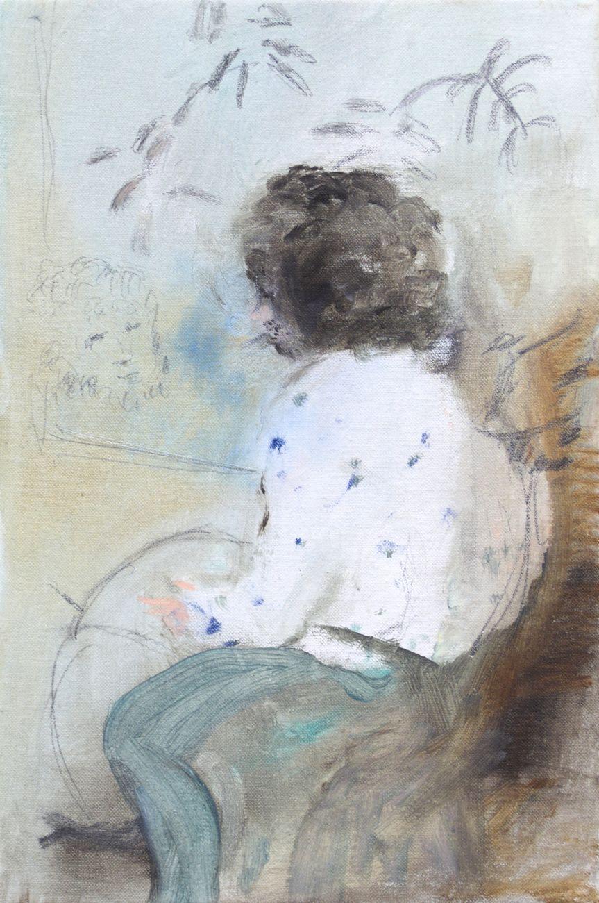 Jacopo Casadei, Monica, 2015, olio su tela, 30 x 20 cm
