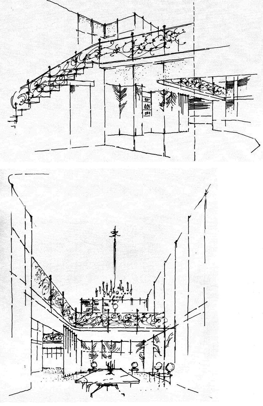 Jaretti e Luzi, Palazzo dell'Obelisco, Torino. Il teatro degli interni. Schizzo di studio. Archivio Luzi. Courtesy Gangemi Editore