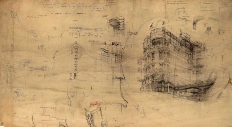 Jaretti e Luzi, Palazzo dell'Obelisco, Torino. Invenzione e costruzione. Schizzi d'insieme e di dettaglio. Courtesy Gangemi Editore