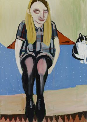 Chantal Joffe Moll with the Cat, 2014 olio su tela / oil on canvas 213,5 x 152,5 cm © the artist Ph. Dario Lasagni