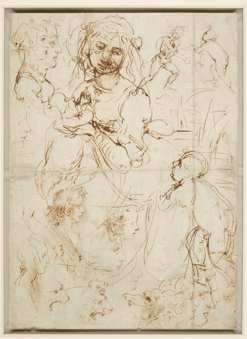 Leonardo da Vinci, Teste e figure a mezzo busto, viste di profilo, 1478. Windsor Castle, Royal Library, concesso in prestito da Sua Maestà la regina Elisabetta II