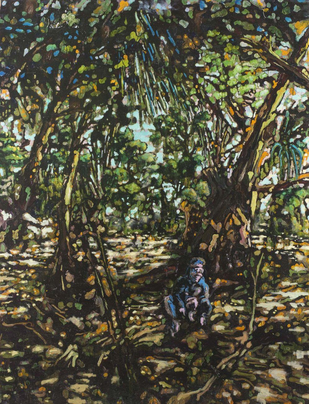Nicola Facchini, Solo bucce sbucciate, 2016, olio su tela, 200 x 136 cm