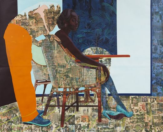 Njideka Akunyili Crosby, And We Begin To Let Go, 2013. Acrylic, charcoal, pastel, marble dust, collage and transfers on paper, 213.4 x 266.7 cm © Njideka Akunyili Crosby. Courtesy the artist, Victoria Miro, and David Zwirner. Photo credit: Jason Wyche