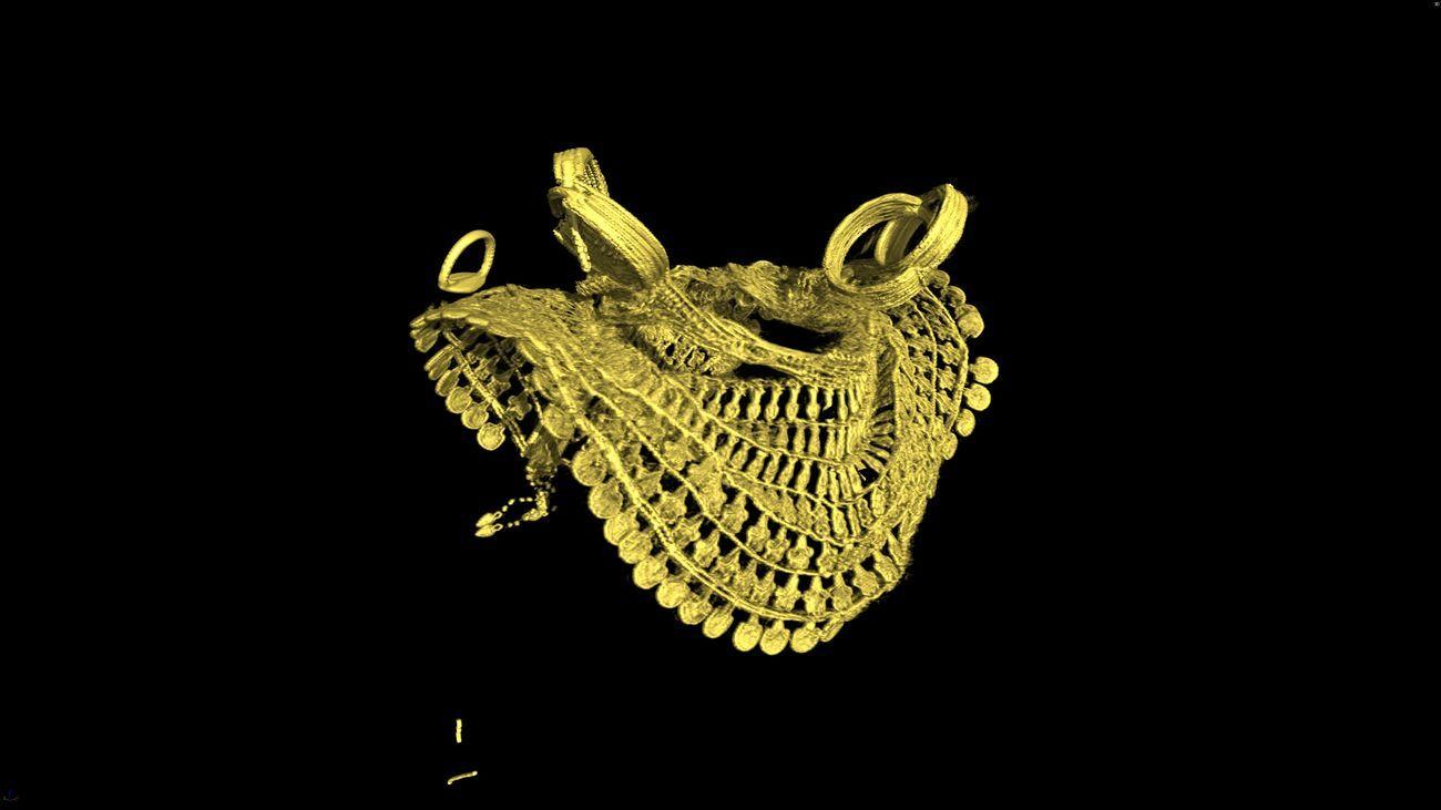Screenshot tratto dallo sbendaggio virtuale (dettaglio) della mummia di Merit. Nuovo Regno, fine XVIII dinastia. Scavi Schiaparelli 1906 (Deir el-Medina, tomba di Kha e Merit). Courtesy IMA Solutions