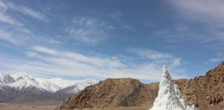 XXII Esposizione Internazionale della Triennale di Milano. Broken Nature. Students' Educational and Cultural Movement of Ladakh – SECMOL (Sonam Wangchuk), Ice Stupa, 2013-14. Photo Lobzang Dadul. Courtesy SECMOL
