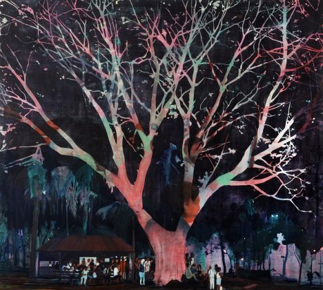 Jules de Balincourt Waiting Tree, 2012 olio e acrilico su tavola / oil and acrylic on panel 198 x 221 cm © the artist Ph. Joseph Desler Costa