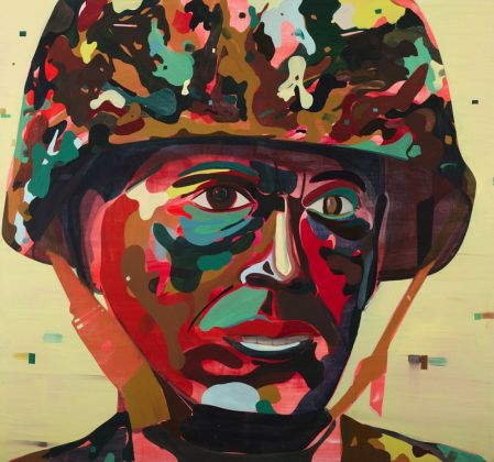 Jules de Balincourt Psychedelic Soldier, 2012 olio e acrilico su tavola / oil and acrylic on panel 228,5 x 243,5 cm © the artist Ph. Joseph Desler Costa