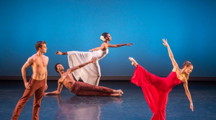 "Lloyd Mayor, Abdiel Jacobsen, Leslie Andrea Williams, and Anne O'Donnell in Martha Graham's ""Diversion of Angels."" Photo by Brigid Pierce."