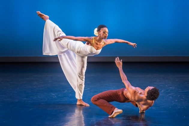 "Leslie Andrea Williams and Abdiel Jacobsen in Martha Graham's ""Diversion of Angels."" Photo by Brigid Pierce."