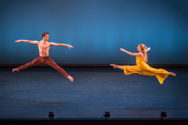 "Lloyd Mayor and Charlotte Landreau in Martha Graham's ""Diversion of Angels."" Photo by Brigid Pierce."