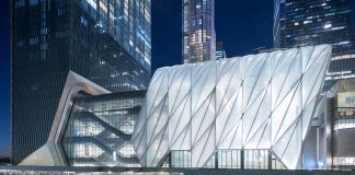 Evening View of The Shed from 30th Street. Photography by Iwan Baan. Courtesy of The Shed. Project Design Credit: Diller Scofidio + Renfro, Lead Architect and Rockwell Group, Collaborating Architect