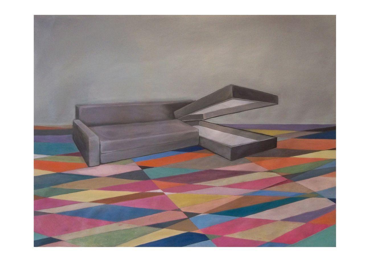 Alessandra Mancini, Divano osceno, 2017. Olio su tela, 51 x 67 cm