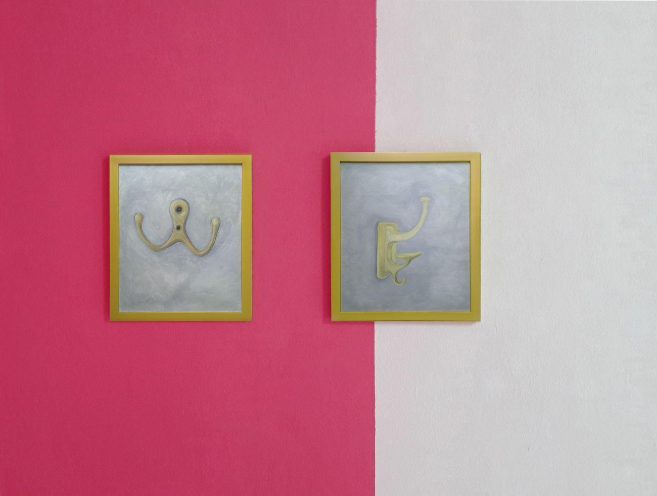 Alessandra Mancini, Matchy Matchy, 2017. Olio su tela, dittico, 30 x 25 cm ognuno