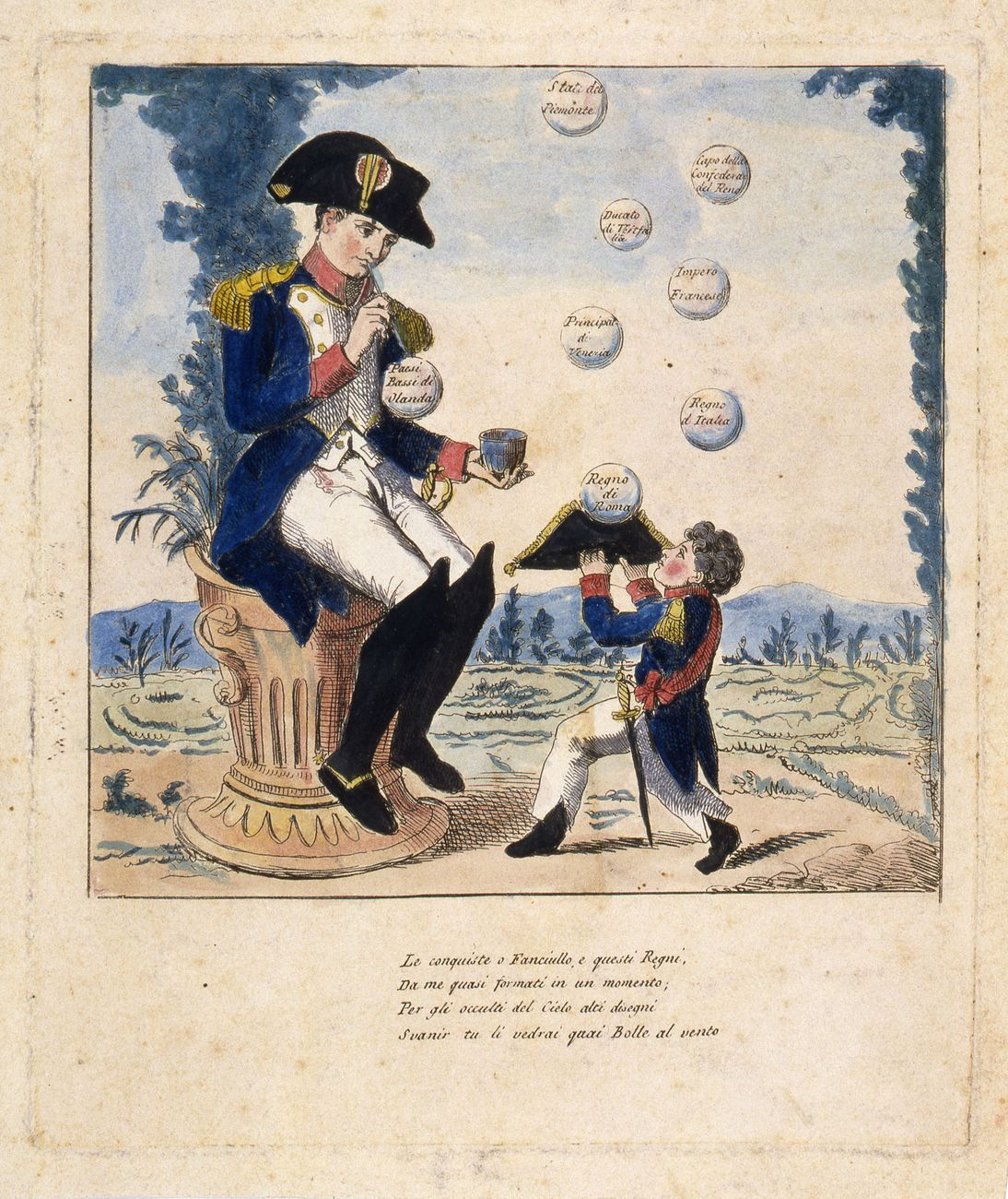 Anonimo, stampa satirica raffigurante Napoleone che gioca con le bolle di sapone, 1810-14. Museo Napoleonico, Roma