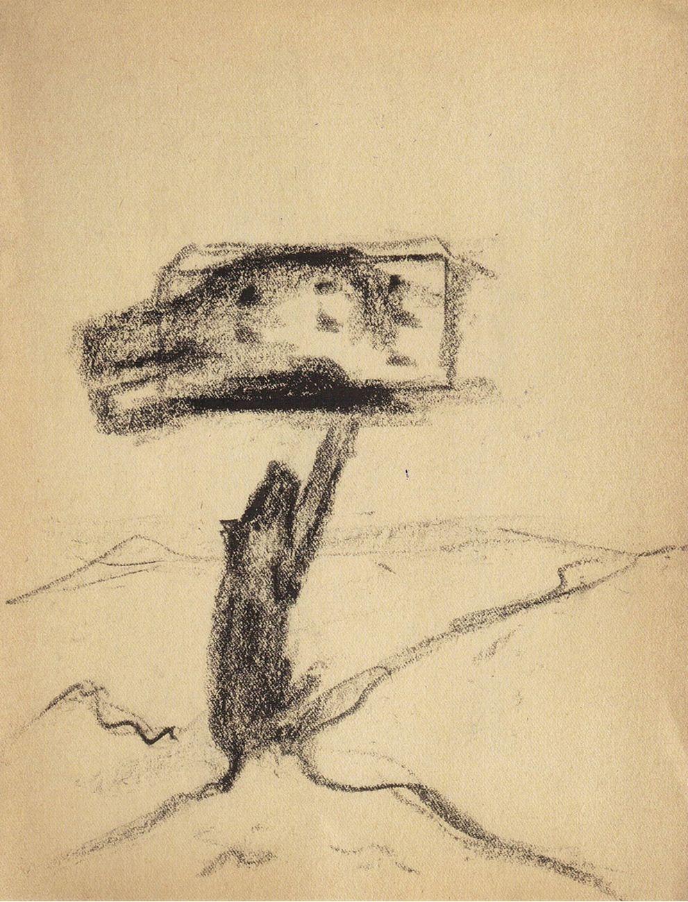 Enzo Cucchi, Il Vesuvio, 1994, matita e carboncino su carta, cm 23x30,5