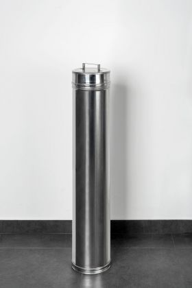Ermanno Cristini, Prière de Toucher with out handle, 2014, tubo in acciaio inox con coperchio, 20x20x110. Photo Miriam Broggini
