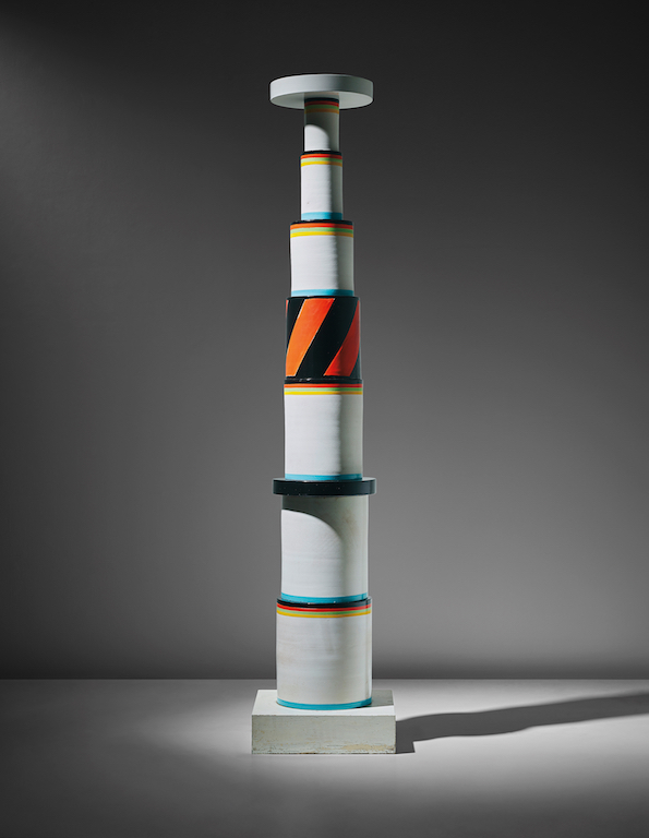 Ettore Sottsass, Totem no. 18, 1966. Glazed earthenware, painted oak. Lindemann Collection, Miami Beach. Courtesy of Friedman Benda and Ettore Sottsass. © 2019 Artists Rights Society (ARS), New York / ADAGP, Paris