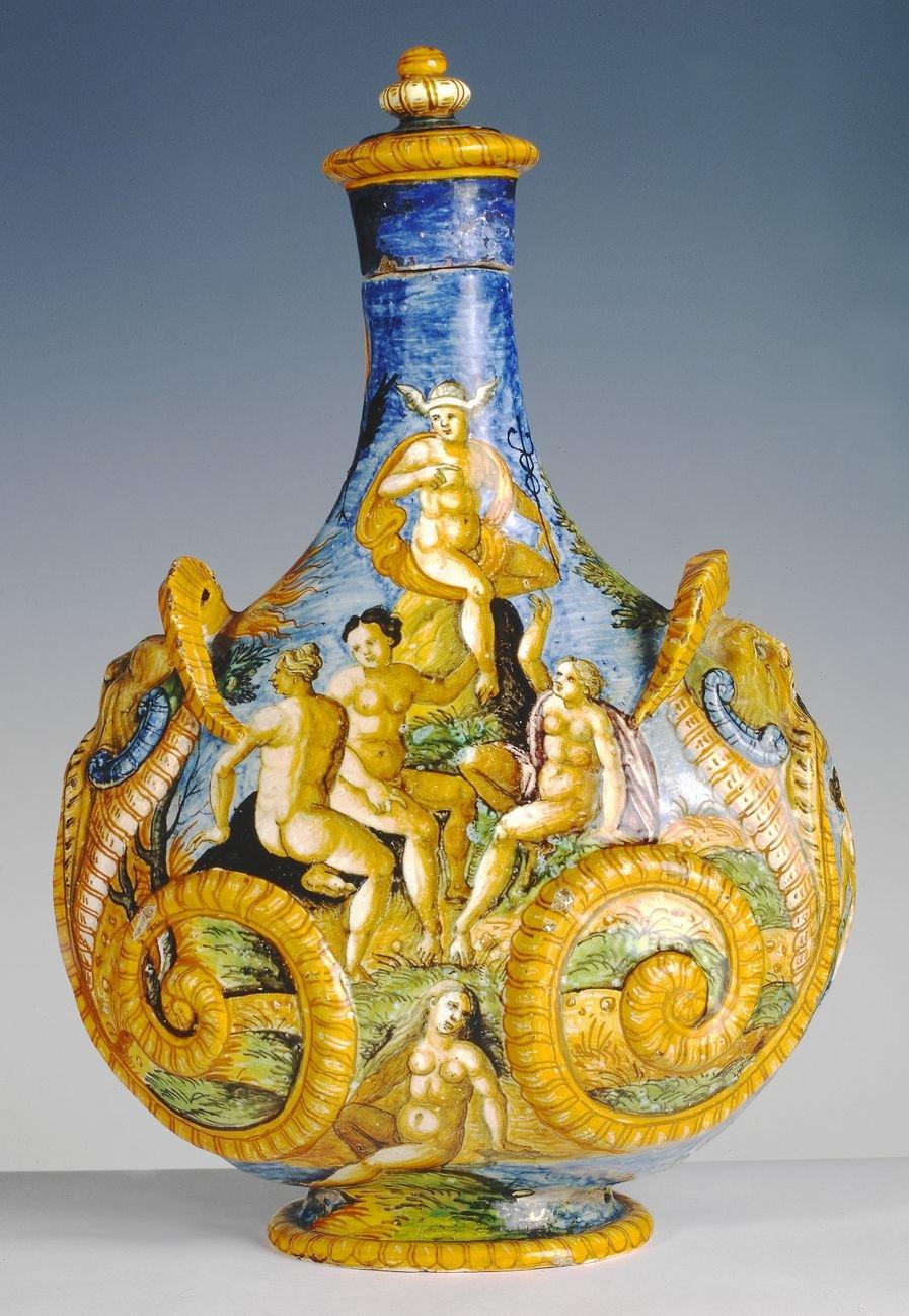Fiasca da parata della Bottega Fontana, 1560-70. Museo del Vino di Torgiano