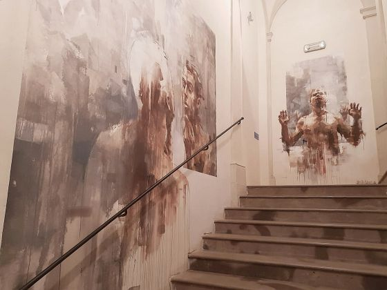Intervento di Borondo per Collicola on the Wall - Spoleto, Palazzo Collicola