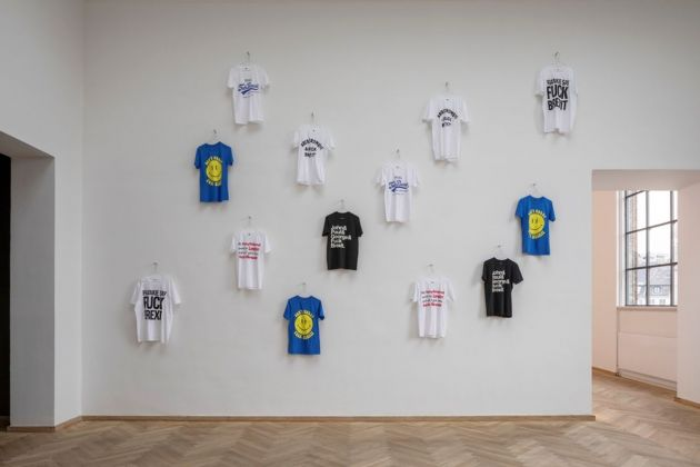 Jeremy Deller, Fuck Brexit T shirts, 2017. Installation view, Europa Endlos, Kunsthal Charlottenborg, 2019. Courtesy Jeremy Deller. Photo Anders Sune Berg