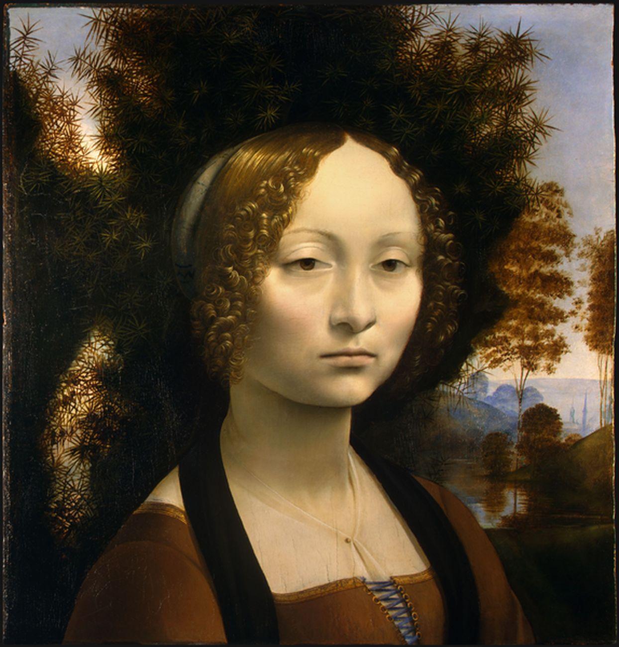 Leonardo da Vinci, Ginevra Benci. National Gallery of Art, Washington. Gli stretti legami del dipinto con l'arte fiamminga di Van Eyck escludono che il vero maestro di pittura di Leonardo sia stato Verrocchio