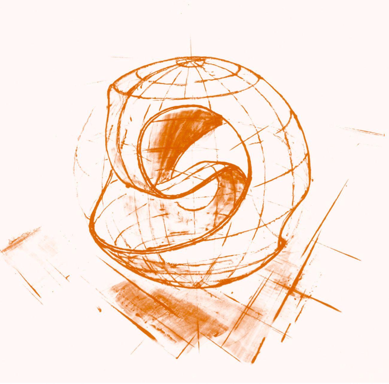 La sfera topologica ideata da Vittorio Giorgini, a partire dal modello dell'anello di Moebius (disegno)