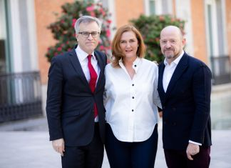 Left to right - Guillermo Solana, Artistic Director, Museo Nacional Thyssen-Bornemisza, Francesca Thyssen-Bornemisza and Carlos Urroz, new Director of TBA21